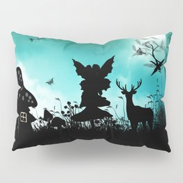 Litte fairy with deer in the night Pillow Sham