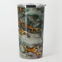 Gray Green Marble Glitter Gold Metallic Foil Style Travel Mug