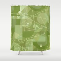 50s Shower Curtains featuring 50s wallpaper by jenapaul