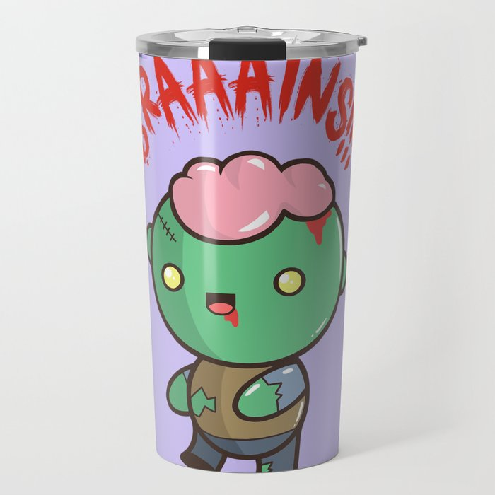Zombie Kawaii Braaains Brains Halloween Travel Mug By Steelartstudios