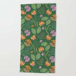 Spring Flowers and Butterflies Beach Towel