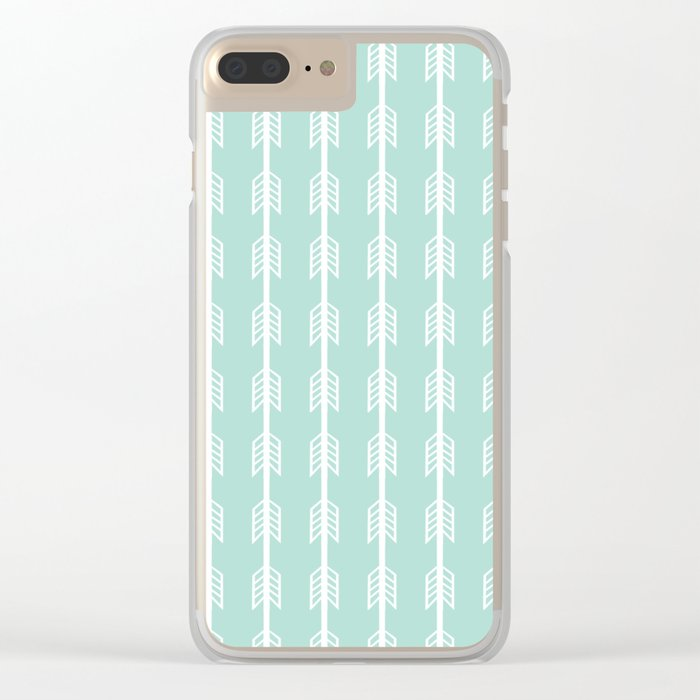 Isabella - minimal arrows mint and white modern dorm college nursery kids art Clear iPhone Case