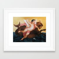 will ferrell Framed Art Prints featuring Will Ferrell riding a water beast by Nobilified