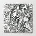 Black and White Vintage Palm Leaf Pattern by lebensartdesign