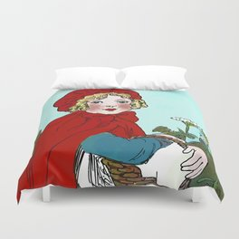 Little Red Riding Hood Painting Duvet Cover