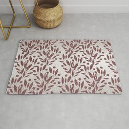 Stylish rose gold burgundy silver glitter gradient floral Rug