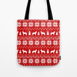 Australian Cattle Dog Silhouettes Christmas Sweater Pattern Tote Bag