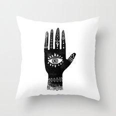 Hand with eye linocut black and white minimal boho third eye hamsa Throw Pillow