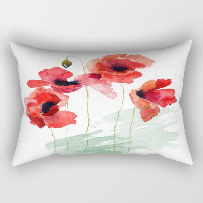 Poppies 01 Rectangular Pillow