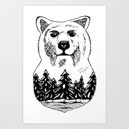 Bear in the wild Art Print