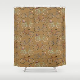 Holiday Bicycles on brown paper Shower Curtain