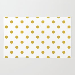Gradient Gold Polka Dots Pattern on White Rug