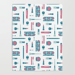 Cosmetic Items Repeating Pattern Poster