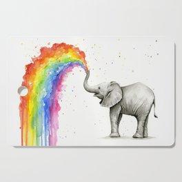 Baby Elephant Spraying Rainbow Cutting Board