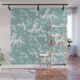 Traditional Hand Drawn Japanese Wave Ink Wall Mural