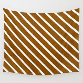 Pumpkin Pie Diagonal Stripes Wall Tapestry