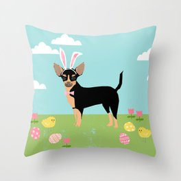 Chihuahua dog breed easter bunny dog costume pet portrait spring chihuahuas black and tan Throw Pillow