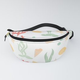cute summer pattern background with seashells, corals and starfishes Fanny Pack