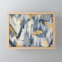 Blue and Gold Ikat Pattern Abstract Framed Mini Art Print