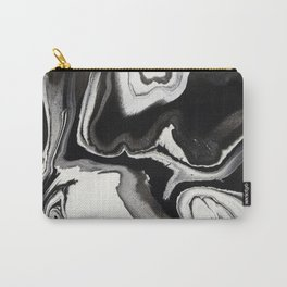 Abstract Black and White Marbled Fluid Painting Carry-All Pouch