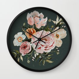 Loose Peonies and Poppies on Vintage Green Wall Clock