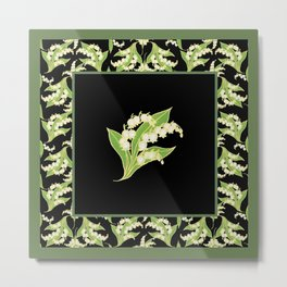 Vintage-style Lily-of-the-Valley Pattern Metal Print