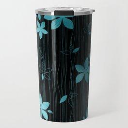 Colorful Art Deco Aqua-Blue Flower Pattern Travel Mug