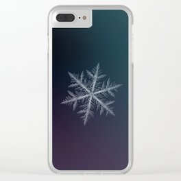 Real snowflake macro photo - Neon Clear iPhone Case