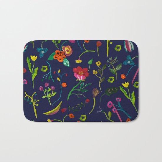 Floral love I pattern Bath Mat