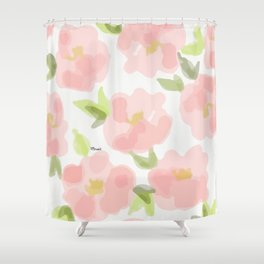 Floral watercolor pattern - pink roses Shower Curtain