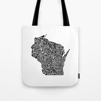 wisconsin Tote Bags featuring Typographic Wisconsin by CAPow!