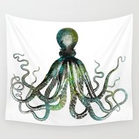 octopus Wall Tapestries featuring Octopus by LebensART