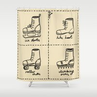 sport Shower Curtains featuring Sport shoes doodles by drakonova