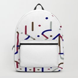 Lines and Dots Motif Geometric Print Backpack