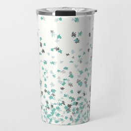 Floating Confetti - Cream Mint and Silver Travel Mug
