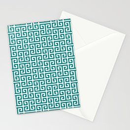 Teal and White Greek Key Pattern Stationery Cards