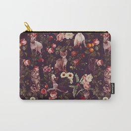 Cat and Floral Pattern Carry-All Pouch