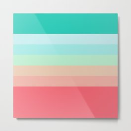 7 Colorful Retro Summer Stripes Airesekui Metal Print