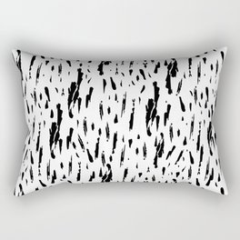 Seattle Rain Black Ink on White Rectangular Pillow