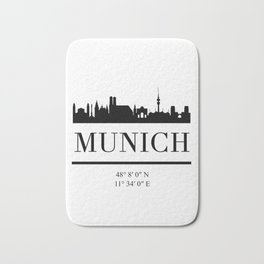 MUNICH GERMANY BLACK SILHOUETTE SKYLINE ART Bath Mat