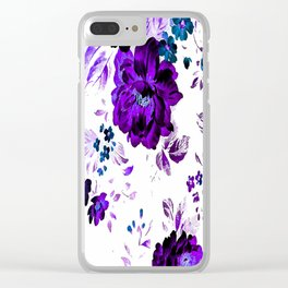 ROSES PURPLE AND BLUE Clear iPhone Case