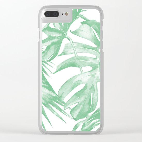 Tropics Palm Leaves Green on White Clear iPhone Case