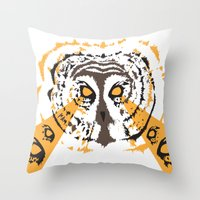 psych Throw Pillows featuring Psych Owl by T Dupuis