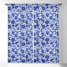 Azulejos blue floral pattern Blackout Curtain