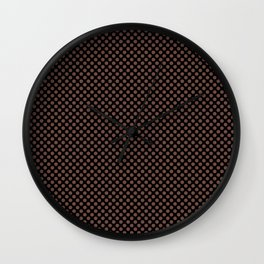 Black and Root Beer Polka Dots Wall Clock