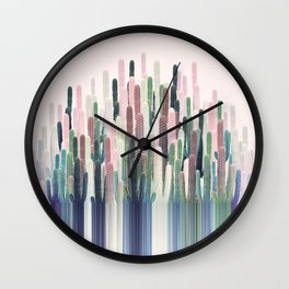 Cacti Stripe Pastel Wall Clock