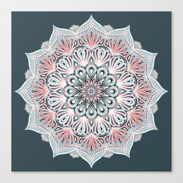Expansion - boho mandala in soft salmon pink & blue Canvas Print