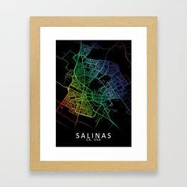 Salinas CA USA City Map Rainbow City Map Art Print Framed Art Print