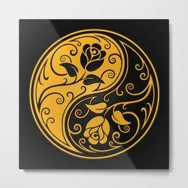 Yellow and Black Yin Yang Roses Metal Print