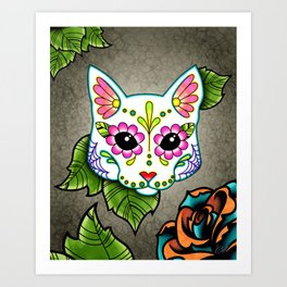 White Cat - Day of the Dead Sugar Skull Kitty Art Print
